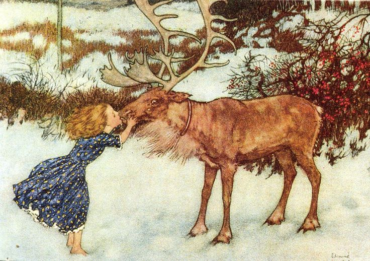 Gerda & the Reindeer, from HC Andersen's The Snow Queen, by Edmund Dulac (1882-1953).