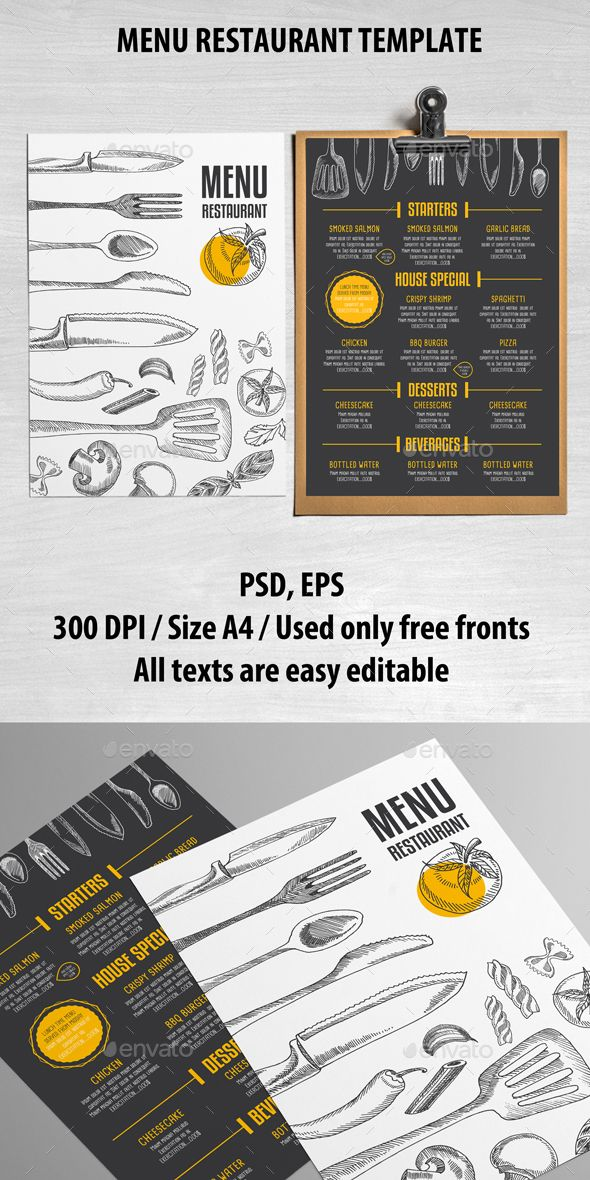 Cafe and Restaurant Template - Food Menus Print Templates