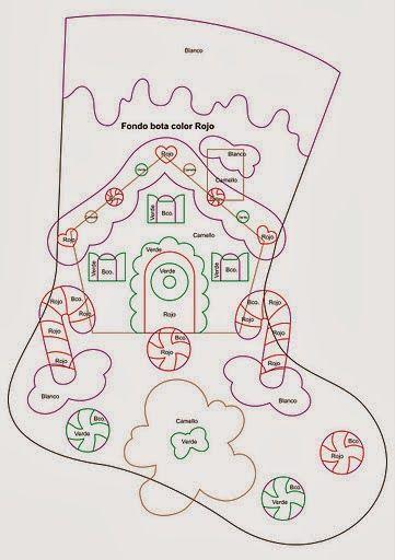 Moldes bota navideña en fieltro | Creatividad Pastelito