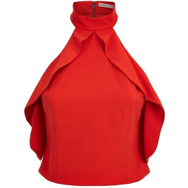Alice + Olivia Cabot Cold Shoulder Ruffle Crop Top ($280) ❤ liked on Polyvore featuring tops, cutout crop tops, red ruffle top, high neck crop top, ruffle crop top and cut-out crop tops