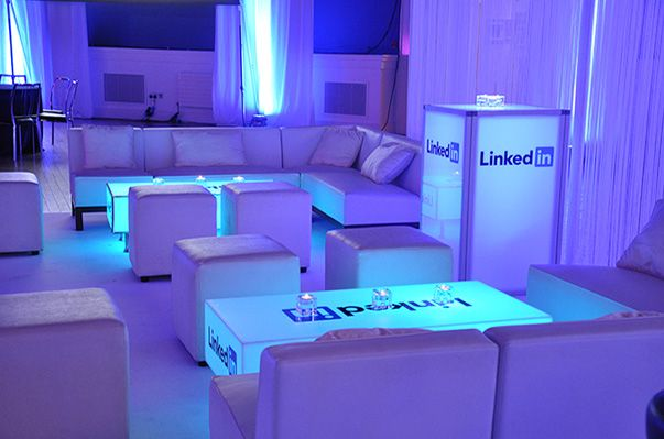 A funky corporate branded lounge for an evening event. Www.gotchacovered.ie