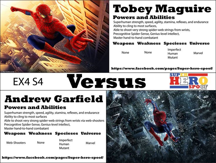 Webs will fly, and be slung in this mirror match event. Spiderman vs Spiderman! WHO WILL WIN, and why? Powers, abilities, weaknesses, and weapons are posted. #superherospoof