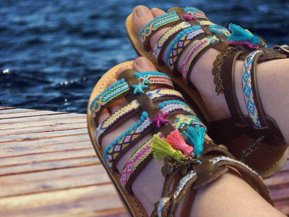 "Gladiator Sandals ""Iris"", strappy sandals, Greek Leather Sandals, Pom Pom sandals, boho sandals, by Oniropolis"