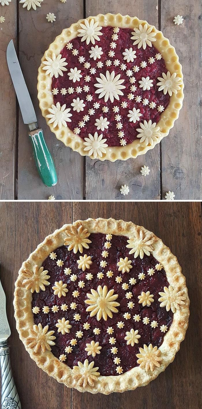 Baker Shows Before & After Pics Of Her Awesome Pie Crusts, And The Result Is Too Pretty To Eat