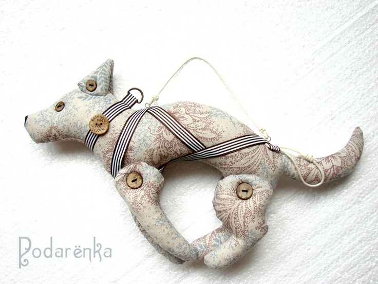 Textile sled dog. A team of these as tree ornaments would be so cute!