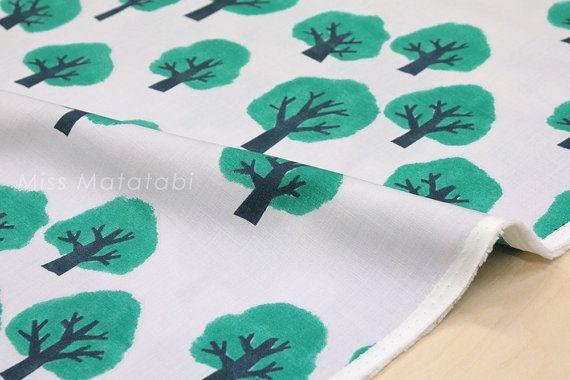 Japanese Fabric Kokka Tomotake Muddy Works Trees от MissMatatabi