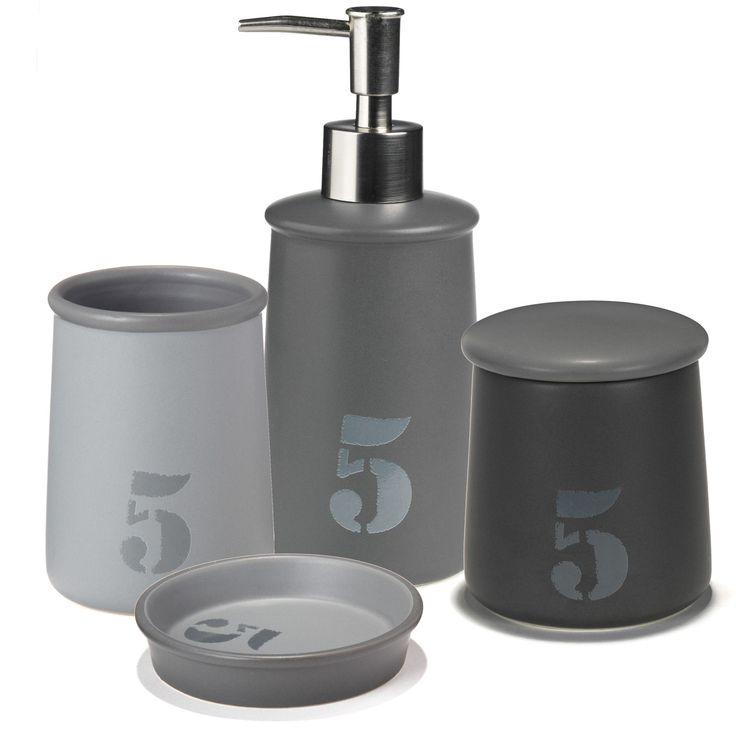 ensemble daccessoires de salle de bains gris atelier bain sets et flacons - Alinea Salle De Bain Accessoires