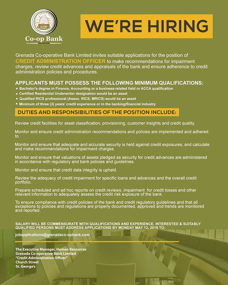 Grenada Cooperative Bank Limited is seeking a Credit