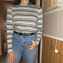 90s striped turtleneck  kinda thinking of keeping this.... size small. Cool cuff slits