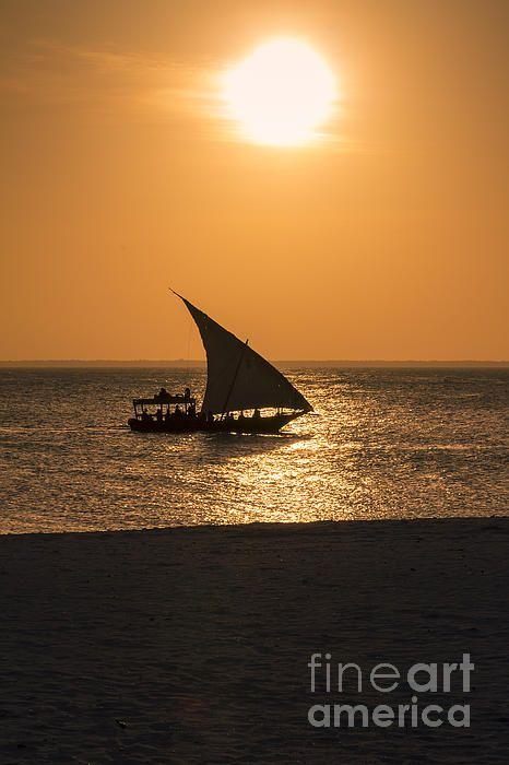 Sunset in Zanzibar #poster #canvas #print #boat #zanzibar #tanzania #island #tide #africa