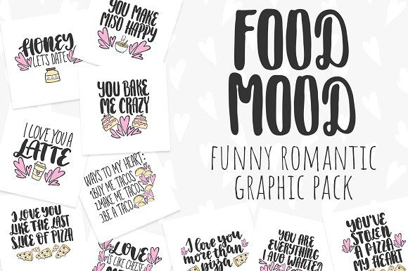Funny romantic graphic pack by rorygez fresh on @creativemarket #creativemarket #lettering valentine's day