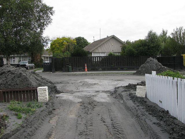 liquefaction silt in parents driveway - after scraping of surface - they had to deal with this 4 times at least | Flickr - Photo Sharing!