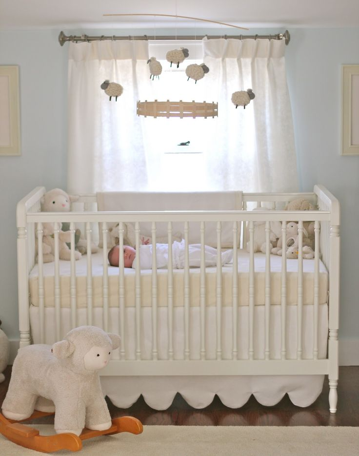Jenny Steffens Hobick: Emma's Nursery | Soft & Cuddly Nursery | Pale Blue & Cream Lambs & Sheeps