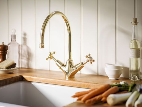 Monobloc taps use a single tap hole in the sink or work surface, which uses less space. The English Kitchen monobloc tap from Catchpole & Rye is made from 100% brass and available in three finishes, £375.