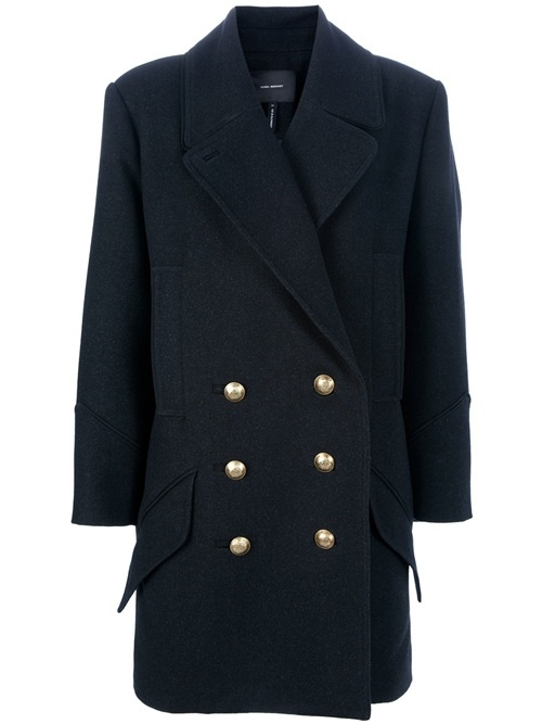 Black wool blend 'David' double breasted coat from Isabel Marant featuring gold tone engraved button fastening, long sleeves, rear vent, rear belt detail , wide peaked lapels and four front pockets.