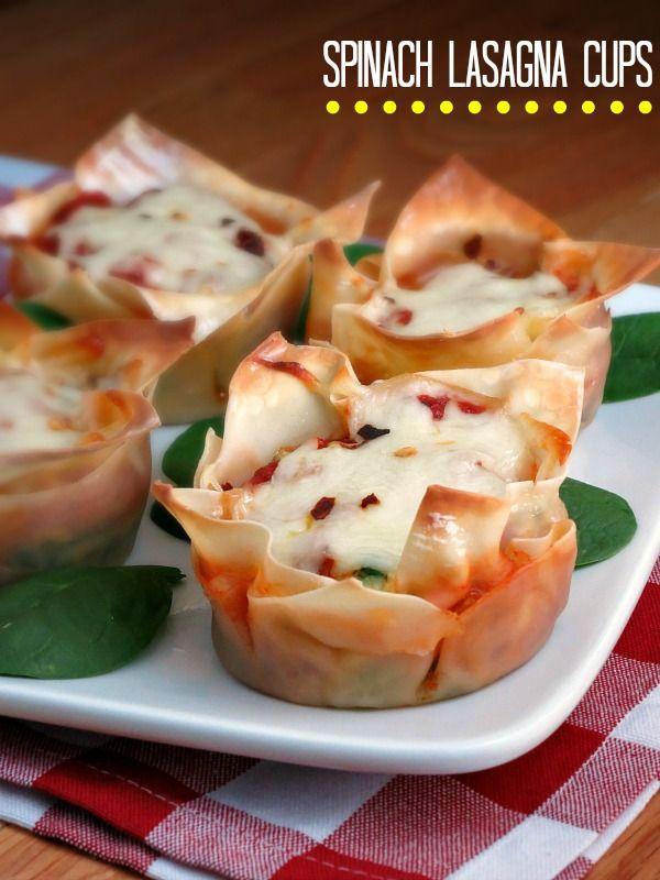 Spinach Lasagna Cups - www.alidaskitchen.com #recipes #SundaySupper