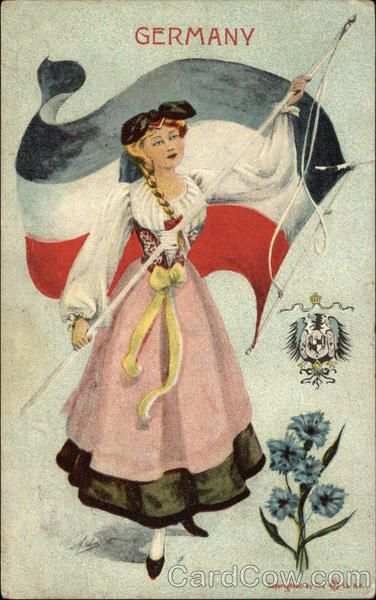 German Girl Holding Flag with Country Crest & Flowers Germany