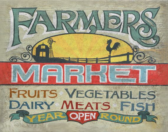 Farmers Market Printwith MAT 11 by 14  inch by ZekesAntiqueSigns, $15.00