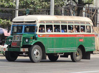 post WW2 PMP DVD 1590 Old Myanmar green Bus