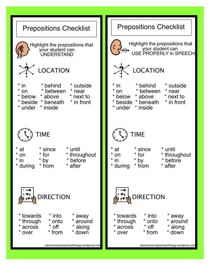 Prepostion checklist