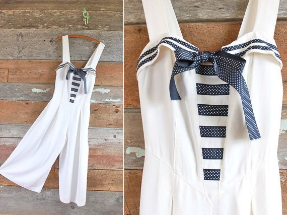1980s nautical jumpsuit by Joseph Ribkoff / by FancyLuckyVintage