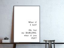 what if I fall, s/w, Zitat, Poster in DIN A4