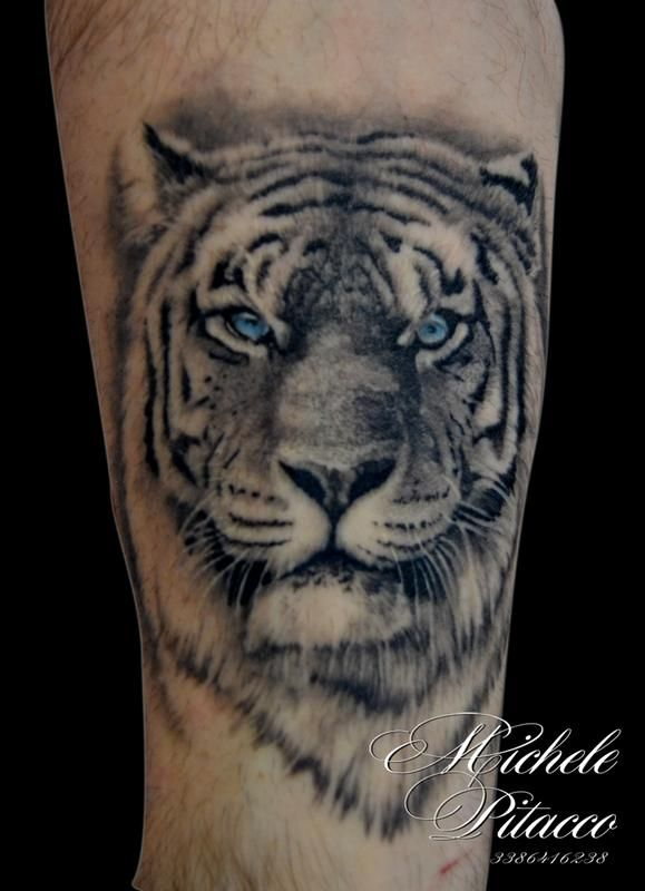 Off the Map Tattoo : Tattoos : Black and Gray : Tiger
