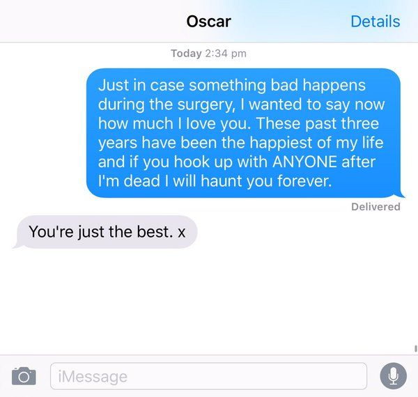 """Oscar makes me feel beautiful by putting up w all my crazy. Usually only hot girls can get away w texts like this..."" - @adventuregrams"