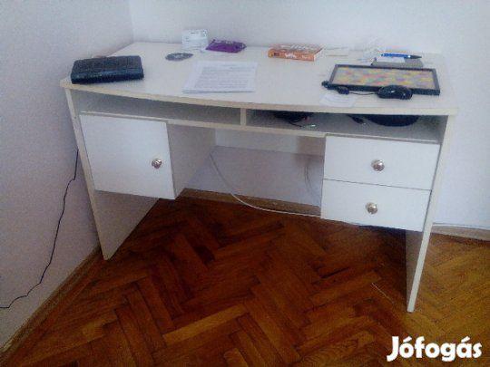 Eladó Íróasztal 2 fiókkal, egy kinyitható szekrényke résszel: Használt állapotban, azonnal vihető