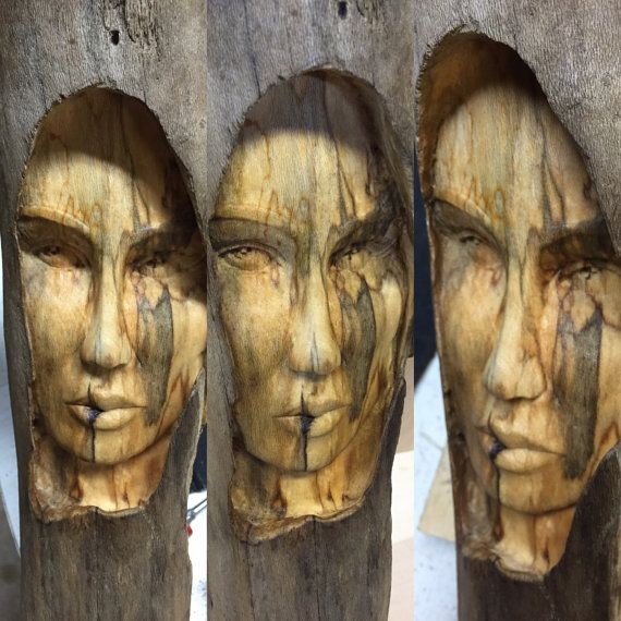 Female Wood Spirit Carving Wood Sculpture Hand By