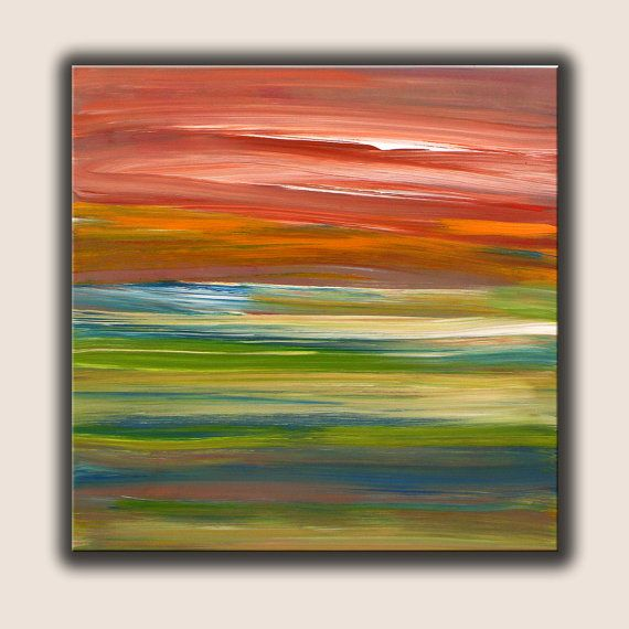 Original painting blue green orange white abstract for Nice acrylic paintings