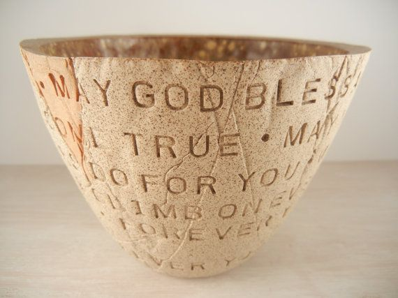 Forever Young  Bob Dylan  Pottery Bowl / Lyric by BraidwoodPottery