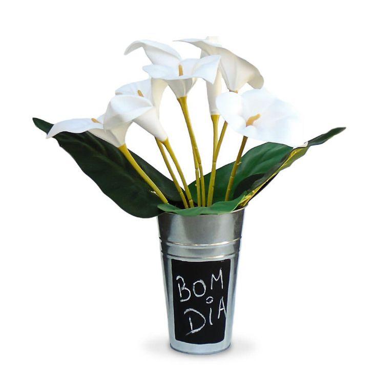 Arranjo de Flores  artificiais copo de de leite com vaso em aluminio rustico e…