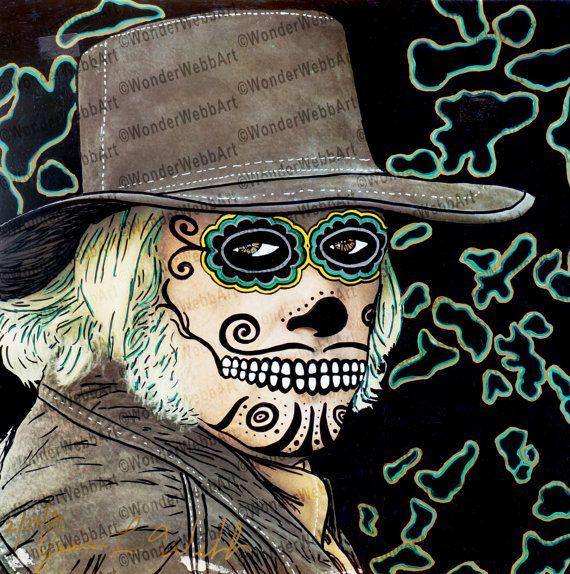 5x5 el enterrador The Gravedigger Sugar Skull by VintageAndLoverly #5x5 #elenterrador #the #Gravedigger #Sugar #Skull #art #print #CharlieRich #DayofTheDead #behindClosedDoors
