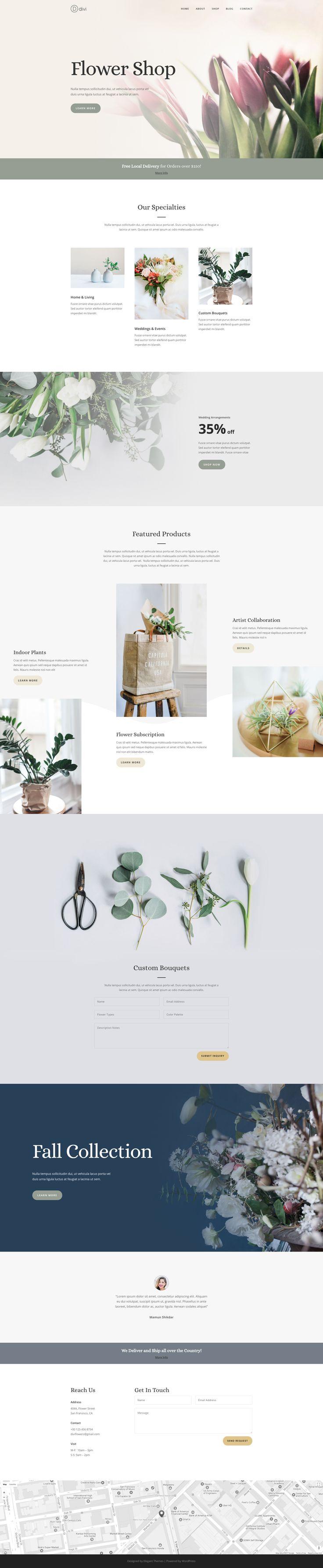 Florist website landing page deisgn