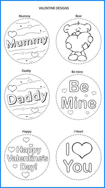Valentines Mixed Designs - Colour In Yourself Badges