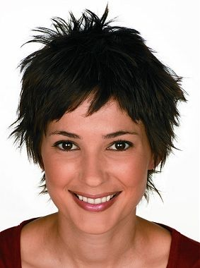 A short black straight spikey Womens haircut hairstyle by Hair Express