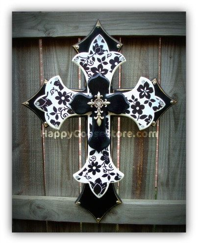 Wall CROSS   Wood Cross   Large   Black U0026 White Floral
