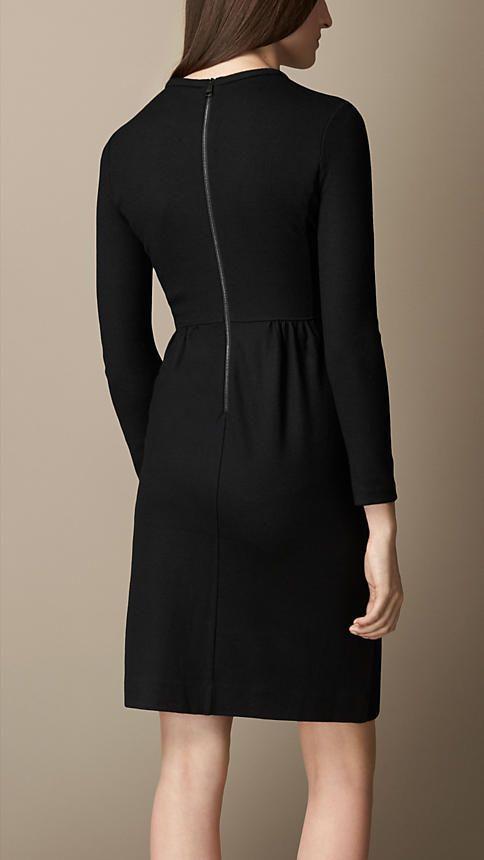 Black Bow Detail Wool Dress - Image 2