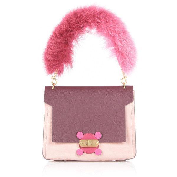 Anya Hindmarch Pink Bathurst X Bag with Fox Fur Handle (£1,885) ❤ liked on Polyvore featuring bags, handbags, pink, anya hindmarch purse, fox fur purse, handle bag, purple bag and pink handbags
