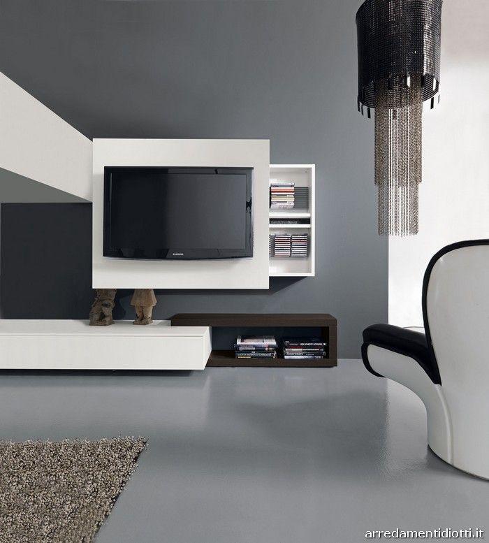 Sistema porta TV RACK orientabile a piacere  cm.120x25 h.103/119/128/144