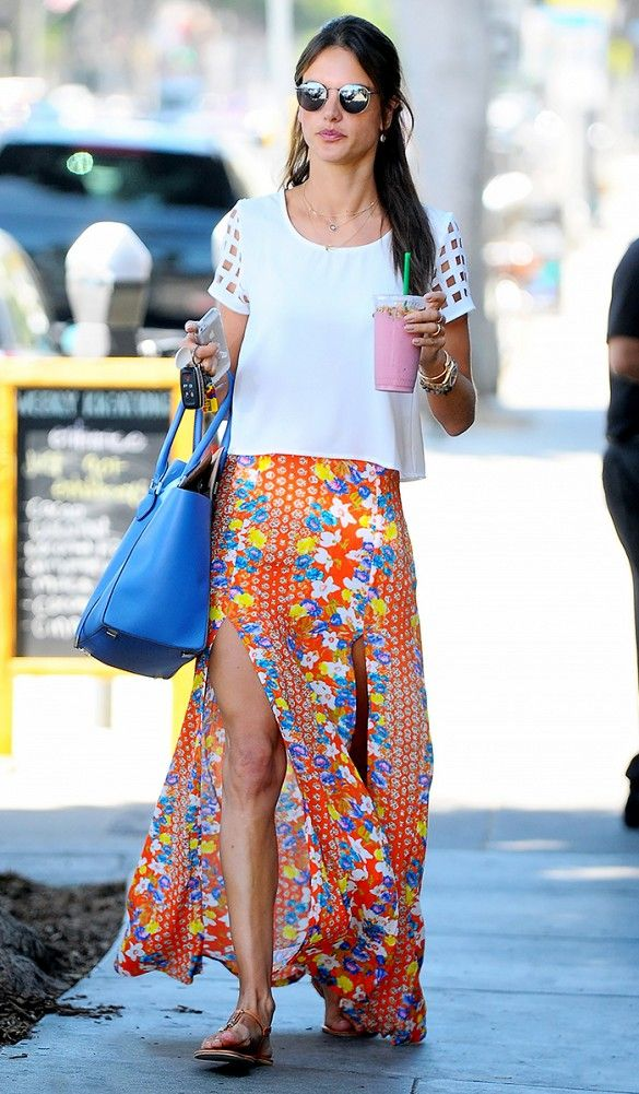 Alessandra Ambrosio looks amazing in the Orange Blossom Maxi Skirt by MINKPINK