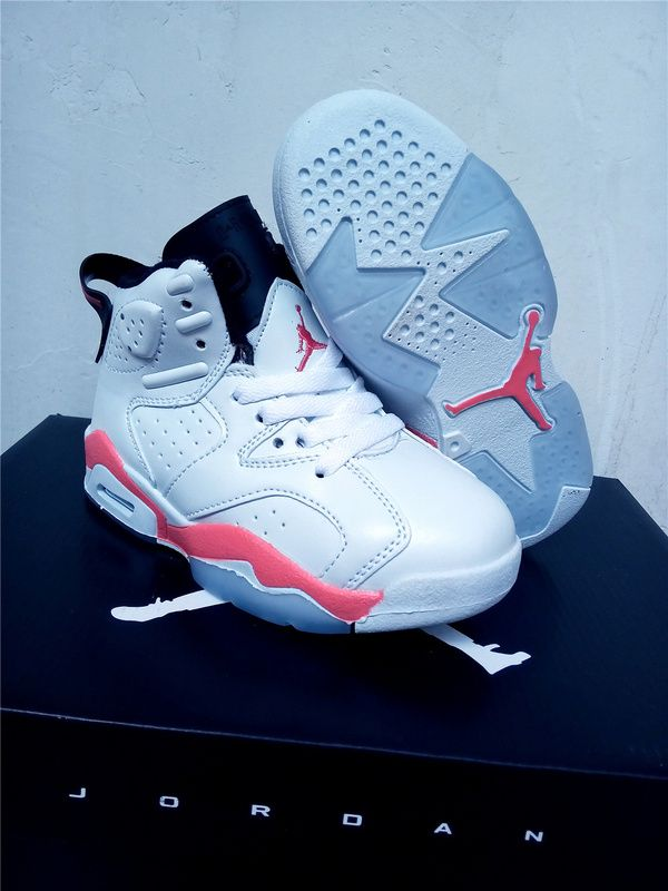 62ff4de68be8c8 Youth Basketball Shoes 2018 2018 Really Cheap Kids Air Jordan 6 White  Infrared 23 Sport Red White