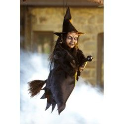 Hanging Witch on Broom #witchcostumes #Halloween coupons discounts savings clearance specials blowouts New for 2013 http://www.planetgoldilocks.com/halloween/witchcostumes.html  #witchcostumes