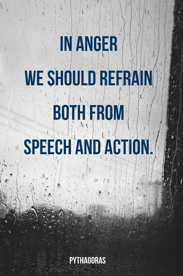 """""""In anger we should refrain both from speech and action.""""  ― Pythagoras"""