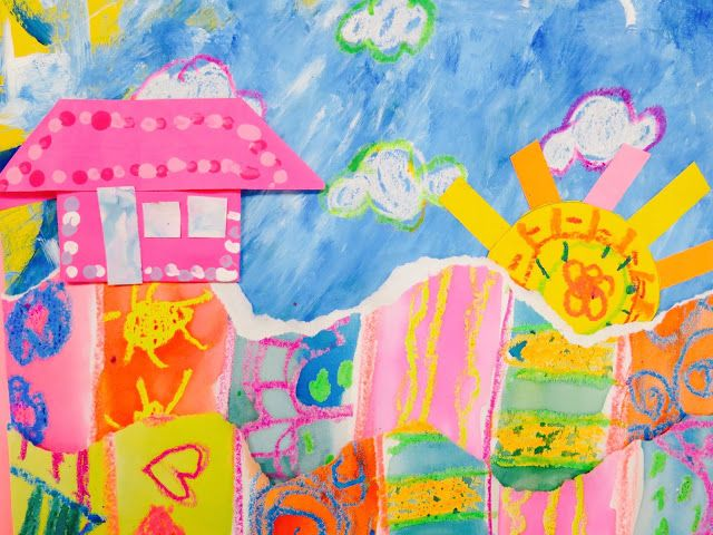 Cassie Stephens: In the Art Room: Collage Landscapes with First Grade