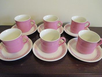 Crown Lynn Set of 6 Pink Cups & Saucers