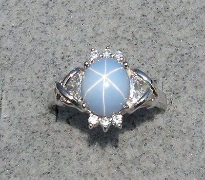 10X8MM VINTAGE SIGNED LINDE LINDY RARE AZURE BLUE STAR SAPPHIRE CREATED RING SS