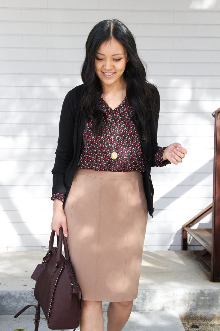 Business Casual Outfit: Tan Pencil skirt with floral blouse and black cardigan c…