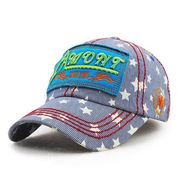 Stylish Letter Embroidery Five-Pointed Star and Striped Link Chain Pattern Baseball Hat For Women #jewelry, #women, #men, #hats, #watches, #belts